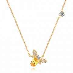 Gold Crystal Chain Charm Necklace Jewelry Bee