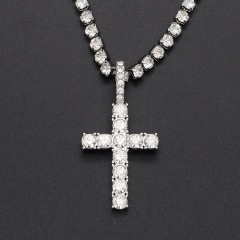 Fashion Gold Rhinestone Crystal Chain Cross Pendant Necklace Silver