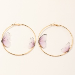 Three-Dimensional Tulle Double Butterfly Stud Earrings Pink-Circle
