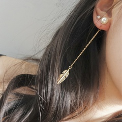 Gold Feather Chain Long Earrings for Women Feather