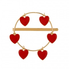 Simple Metal Dangle Circle Women's Hairclips Heart-Red