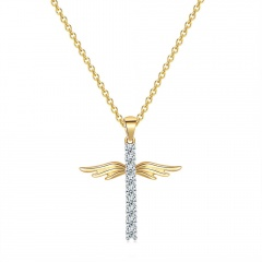 Angel WIngs Rhinestone Gold Cross Pendant Chain Necklace Gold