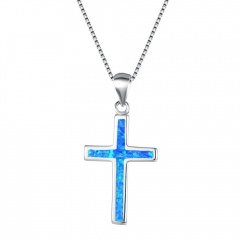 Silver Cross Pendant Chain Necklace Jewelry Wholesale Blue