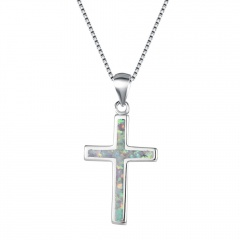 Silver Cross Pendant Chain Necklace Jewelry Wholesale Silver