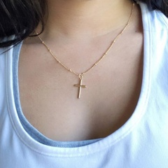 Simple Cross Pendant Chain Necklace Jewelry Gold