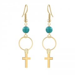 Beads with Cross Dangle Hook Earring Jewelry Gold