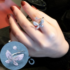 Silver Simple Open Adjustable Shinning Stone Rings Wholesale Butterfly