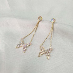 Gold Butterfly Series Stone Stud Earring Wholesale style 1