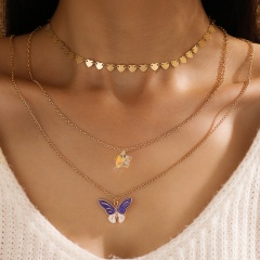 Gold Multilayer Butterfly Chain Necklace Wholesale style 1