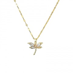 Fashion Gold Dargonfly Crystal Pendant Chain Necklace Wholesale Gold