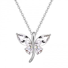 Silver Crystal Dargonfly Pendant Chain Necklace Wholesale white