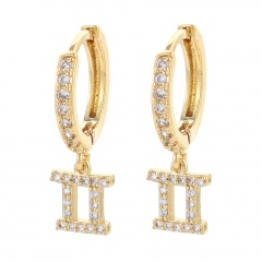 gold 12 constellation zircon stone ear hook earrings wholesale Gemini