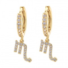 gold 12 constellation zircon stone ear hook earrings wholesale Scorpio
