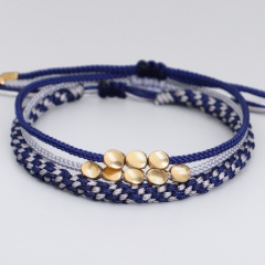 3 Pieces/Set Copper Bead Knot Hand-woven Adjustable Bracelet Set style 2