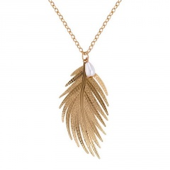 Feather Leaf Pearl Pendant Sweater Chain Necklace Gold