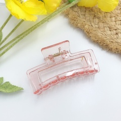 Simple Geometric Catch Hairclip Ponytail Hairpin pink