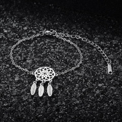 Dream Catcher Feather Stainless Steel Bracelet Wholesale silver
