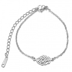 Stainless Steel Feather Chain Bracelet Wholesale silver