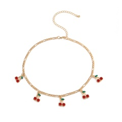Cherry Pendant Clavicle Short Chain Necklace style 1