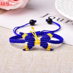 Butterfly Woven Rope Adjustable Bracelet Femme Lucky for Women Jewelry Birthday Gift 10# Dark Blue