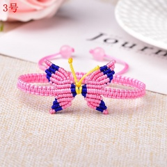 Butterfly Woven Rope Adjustable Bracelet Femme Lucky for Women Jewelry Birthday Gift 3# Pink