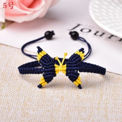 Butterfly Woven Rope Adjustable Bracelet Femme Lucky for Women Jewelry Birthday Gift 5# Navy Blue&Yellow
