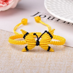 Butterfly Woven Rope Adjustable Bracelet Femme Lucky for Women Jewelry Birthday Gift 6# Yellow