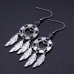Dream Catcher Hollow Love Feather Ear Hook Earrings silver