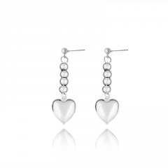 Fashion Stainless Steel Heart Dangle Earring Wholesale silver