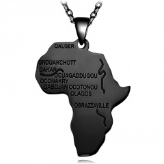 Stainless Steel Alphabet Africa Map Necklace black