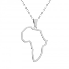Stainless Steel Hollow Africa Map Clavicle Chain Necklace silver