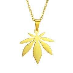 Stainless Steel Maple Leaf Pendant Clavicle Chain Necklace gold