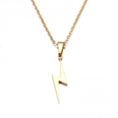 Stainless Steel Lightning Pendant Clavicle Chain Necklace gold