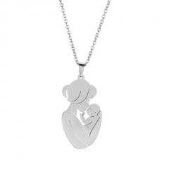 Mother Holds Child Thanksgiving Mother's Day Family Stainless Steel Pendant Necklace silver