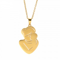 Mother Kissing Baby Mothers Day Family Stainless Steel Necklace gold