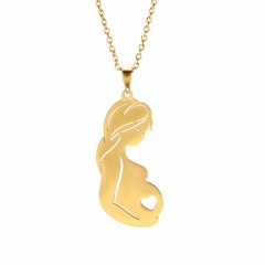 Mother Pregnancy Mother's Day Family Stainless Steel Pendant Necklace gold
