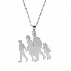 Thanksgiving Mothers Day Family Stainless Steel Pendant Necklace silver