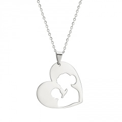 Heart-Shaped Hollow Mother's Day Family Stainless Steel Pendant Necklace #2-silver