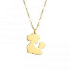 Heart-Shaped Hollow Mother's Day Family Stainless Steel Pendant Necklace #1-gold