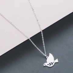 bird stainless steel pendant clavicle chain necklace silver