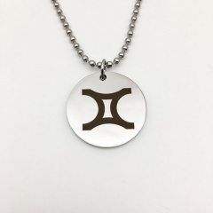 Twelve Constellation Circle Stainless Steel Pendant Necklace Gemini