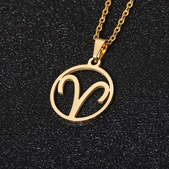 Gold 12 Constellation Circle Pendant Chain Necklace Jewelry Aries