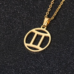 Gold 12 Constellation Circle Pendant Chain Necklace Jewelry Gemini