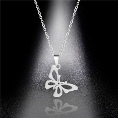 silver butterfly stainless steel pendant chain necklace jewelry butterfly