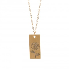 Rectangular month birthday flower stainless steel necklace June
