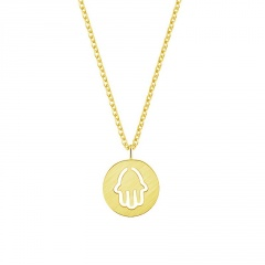 Round Hollow Palm Pendant Stainless Steel Necklace gold