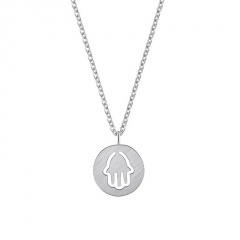Round Hollow Palm Pendant Stainless Steel Necklace silver