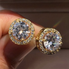 Circle Diamond Zircon Silver Stud Earrings gold
