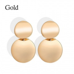 Retro metal double disc geometric round stud earrings gold