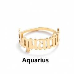 12 Constellation Stainless Steel Gold Letter Open Ring Aquarius